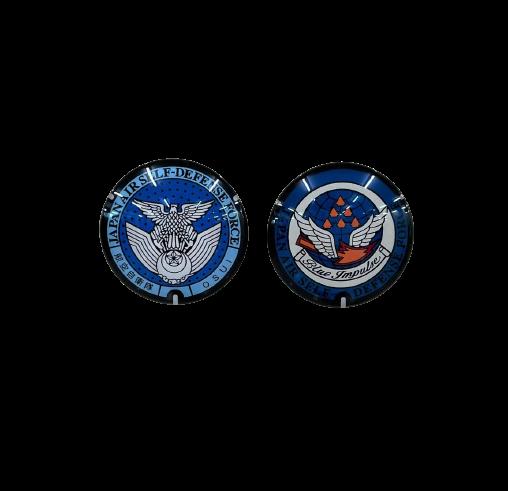 自衛隊グッズ ご当地マンホールマグネット 防衛省 航空自衛隊徽章 / 航空自衛隊 松島基地 2種