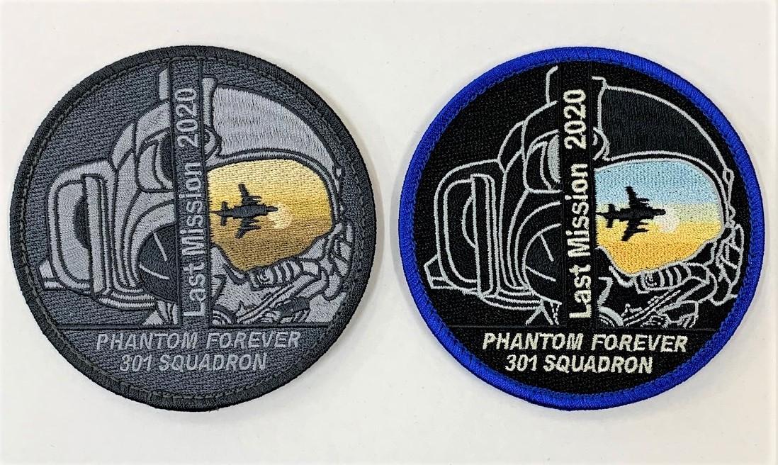 自衛隊グッズ 301SQラストミッションワッペン 2種 両面ベルクロ付き
