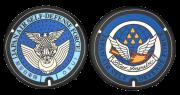 自衛隊グッズ ご当地マンホールチェアパッド  防衛省 航空自衛隊徽章 / 航空自衛隊 松島基地 2種
