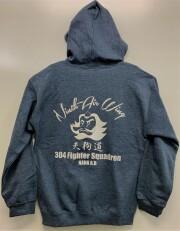 自衛隊グッズ メンズパーカー 第304飛行隊テング・ウォリアーズ 杢グレー