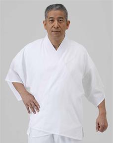 【半襦袢 男性用 寺院用 神職用】 天翔 半衿付襦袢 筒袖 普通丈 (夏用)