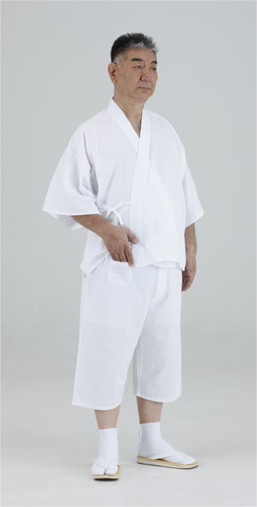 【半襦袢 男性用 僧侶用 神職用】シャンタン織厚地 筒袖襦袢+ステテコ (冬用)