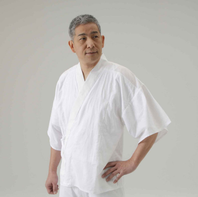 【半襦袢 男性用 僧侶用 神職用】 さらし襦袢 手縫掛衿 筒袖 普通丈 (年間用) 2枚セット