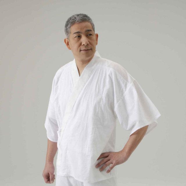 【半襦袢 男性用 寺院用 神職用】 さらし襦袢 手縫掛衿 筒袖 普通丈 (年間用) 2枚セット