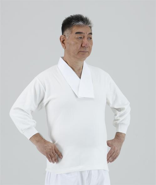【半襦袢 男性用 寺院用 神職用】 かぶり式フリース襦袢 半衿付 筒袖(7分袖) 袖口ゴム(冬用)