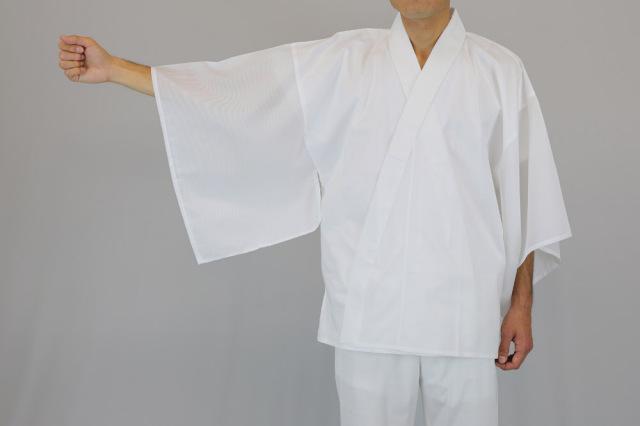 【半襦袢 男性用 寺院用 神職用】 さらし襦袢 手縫掛衿(絽) 広袖 普通丈 (年間用) 2枚セット