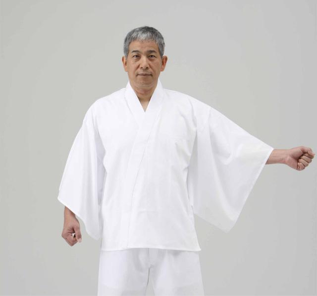 【半襦袢 男性用 寺院用 神職用】 さらし襦袢 手縫掛衿(絽) 広袖 ロング丈 (夏用) 2枚セット
