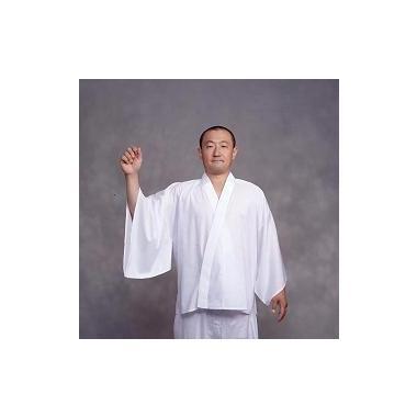 【半襦袢 男性用 寺院用 神職用】  クレ-プ半衿付襦袢 広袖 普通丈 (夏用) 2枚セット