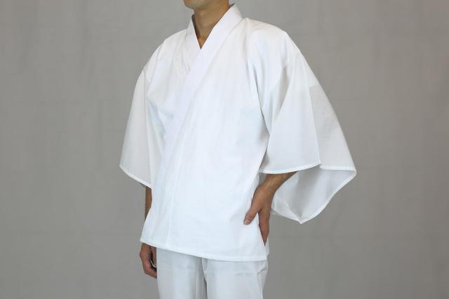 【半襦袢 男性用 僧侶用 神職用】 腰元まであったか襦袢  普通丈・ロング丈 広袖 半衿(冬用)