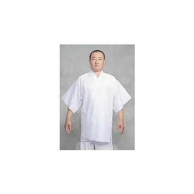 【半襦袢 男性用 寺院用 神職用】 クレープ半衿付襦袢 筒袖 ロング丈 (夏用) 2枚セット