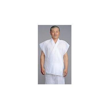 【半襦袢 男性用 寺院用 神職用】 クレープ半衿付襦袢 袖なし 普通丈 (夏用) 2枚セット