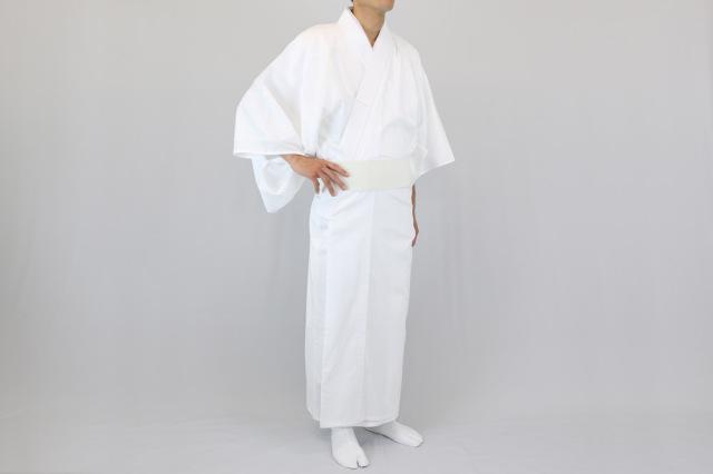 奉仕品【寺院用白衣 男性用】抗菌・防臭 麻混 白衣(夏用) ※サイズ抜け 在庫限り