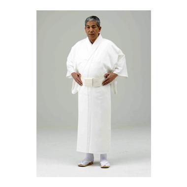 【寺院用白衣 男性用】巾広 形状安定綿混厚地白衣 (合用)