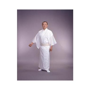 奉仕品【寺院用白衣 男性用】あぜくら織綿混 薄地白衣 着崩防止・内ポケット付(夏用・4L寸のみ)