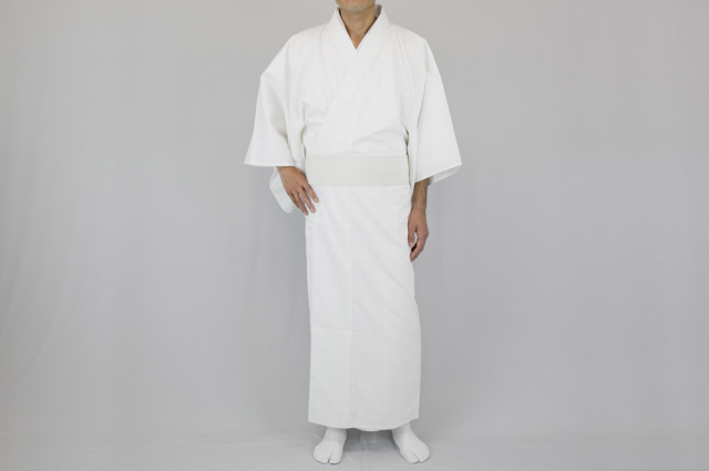 【寺院用白衣 男性用】形状安定綿厚地白衣 綿100% (合用)