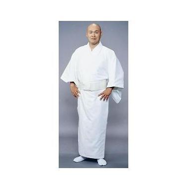 形状安定綿混厚地白衣 着崩防止・内ポケット付(合用)【寺院用白衣 男性用】