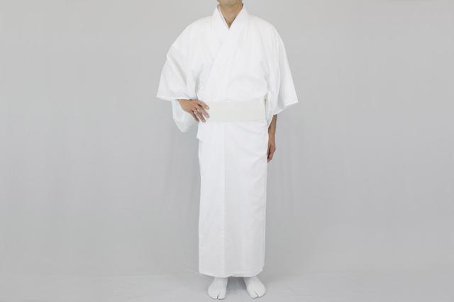 【寺院用白衣 男性用】 綿100%白衣 うす地 (春~夏用)