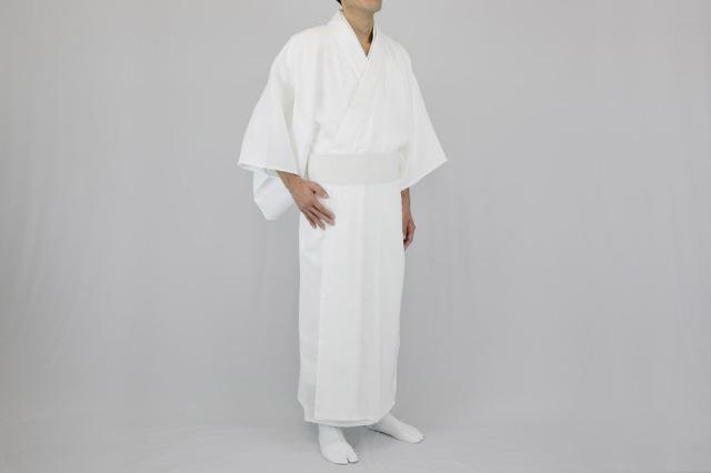 奉仕品【寺院用白衣 男性用】形状安定綿混厚地白衣 ゲルマニウム繊維ネル胴裏地(防寒用) ※サイズ割れ 在庫限り