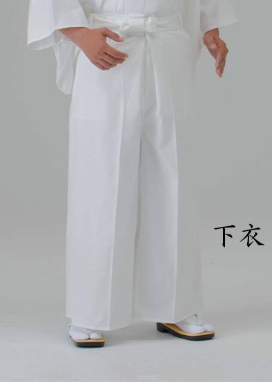 【寺院用白衣 男性用 二部式】 遠赤外線 保温白衣 下衣(後部ゴム式) (冬用)