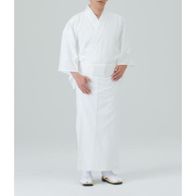 麻混白衣(ファスナー衿付)【寺院用白衣 男性用】