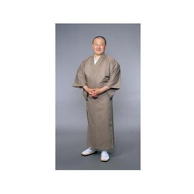 【着物 男性用 テトロン麻】東レトスコ麻混着物 うす茶(夏用)