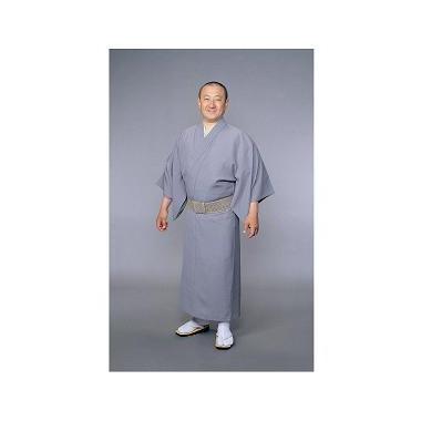 【着物 男性用 テトロン麻】東レトスコ麻混着物 グレー(夏用)
