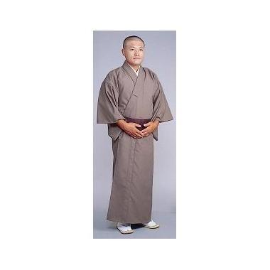 【着物 男性用 テトロンウール】毛混着物 うす茶(冬用)