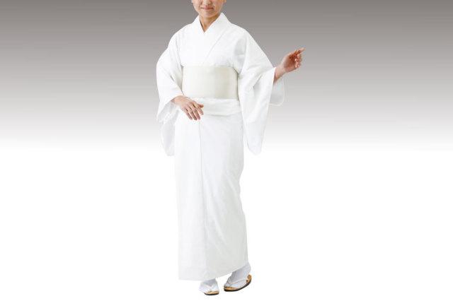 【寺院用白衣 女性用】毛混白衣 (おはしょり仕様・冬用・巾広サイズあり)
