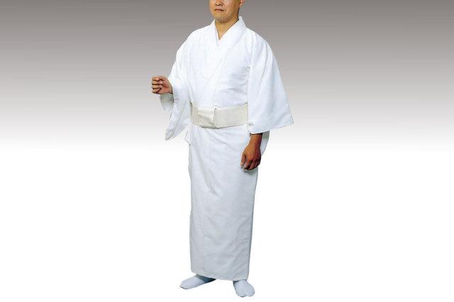 【寺院用白衣 男性用】 毛混白衣 ファスナー衿付