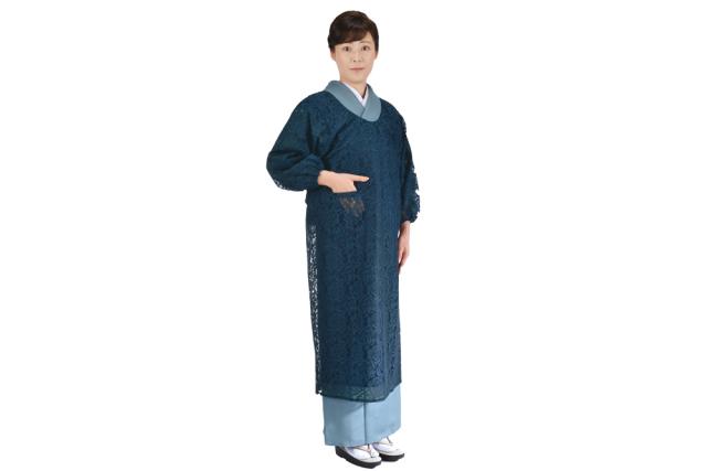 【女性用 和装 割烹着】 すかし織 水屋着 4色