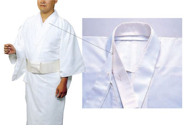 【毛混白衣用】 ファスナー式替衿 ボタン式内衿
