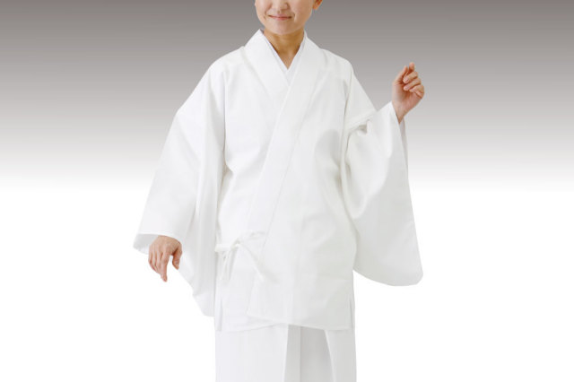 【寺院用白衣 女性用 二部式】形状安定綿混厚地二部式 寺院用白衣 上衣 (合用)