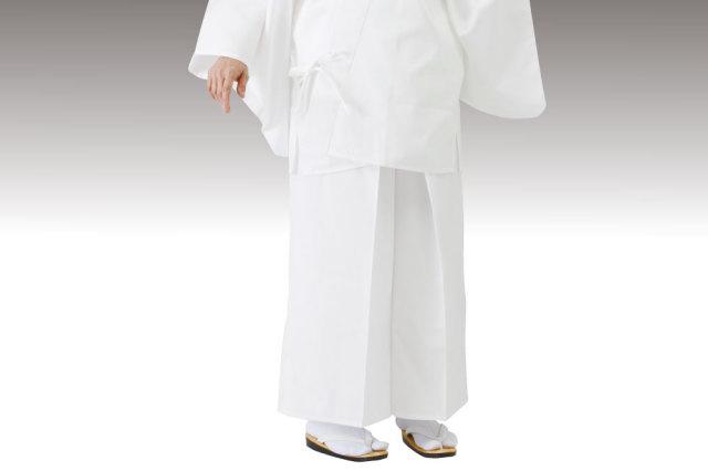【寺院用白衣 女性用 二部式】形状安定綿混厚地二部式 白衣 下衣(後部ゴム式)(合用)