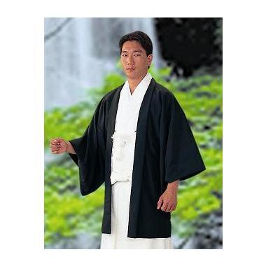 【神職用羽織 男性用 黒】東レシルック羽二重・袷 黒羽織 ひも付(冬用)