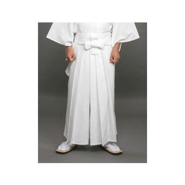 【道中袴 寺院用】年間用常袴 白 (マチ付型/アンドン型・腰板なし)