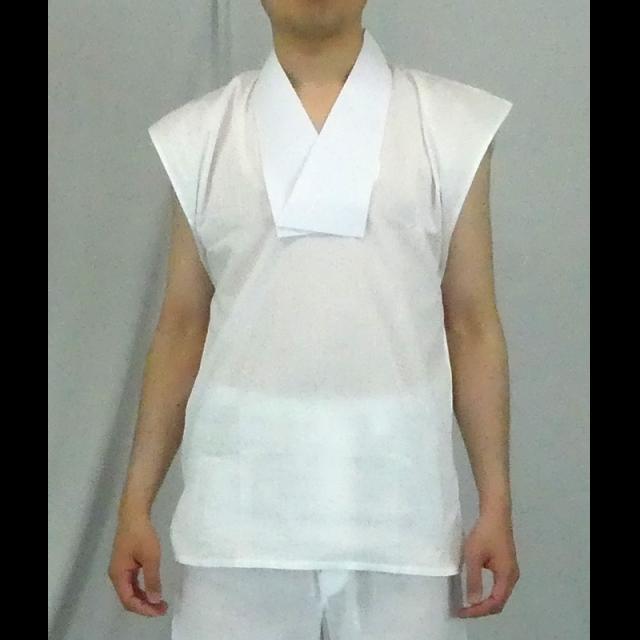 【Tシャツ 半襦袢 男性用 僧侶用 神職用】半衿付クレープ肌着 袖なし (夏用) 2枚セット