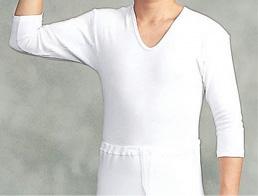 【インナー 男性用 寺院用 神職用】厚地メリヤス肌着 U首シャツ 七分袖 2枚セット(冬用)