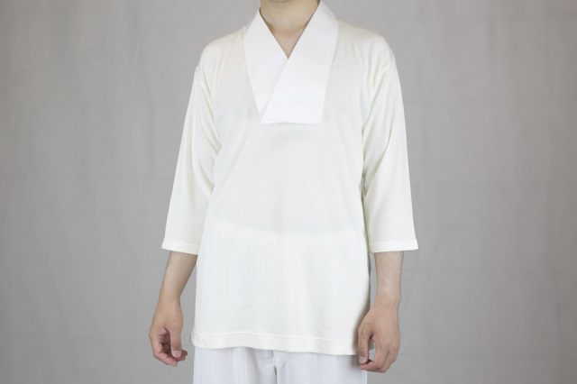 【Tシャツ 半襦袢 男性用 僧侶用 神職用】 吸湿発熱あったか肌着(半衿付、七分袖、防寒用)