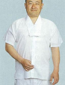 【Tシャツ 半襦袢 男性用 寺院用 神職用】半衿付クレープ肌着 前割れボタン式 半袖 (夏用) 2枚セット
