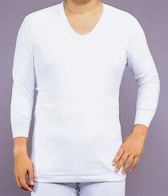 【インナー 男性用 寺院用 神職用】厚地メリヤス肌着 U首シャツ 八分袖 2枚セット(冬用)
