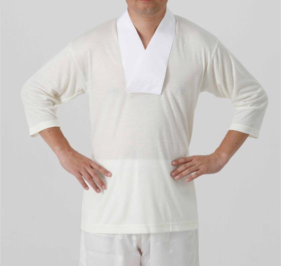 【半襦袢 男性用 寺院用 神職用】 かぶり式ウール混襦袢 半衿付 7分袖 (冬用)