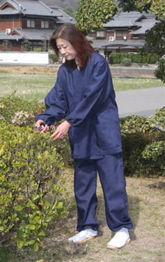 【作務衣 女性用】麻混作務衣 長袖 上下セット(夏用)