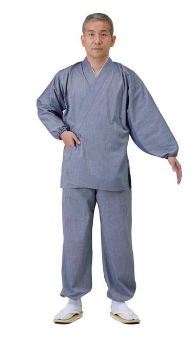 【作務衣 男性用】 吸水速乾作務衣 上下セット ブルーグレー・薄茶(夏用) 筒袖