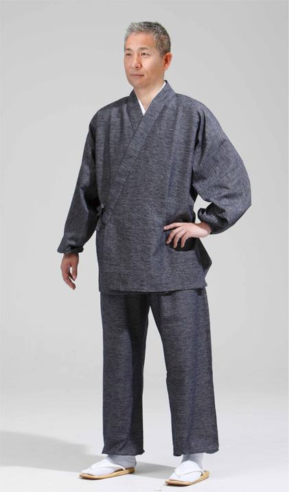【作務衣 男性用】久留米絣作務衣 長袖 グレー・紺 上下セット(合用)