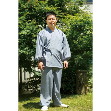 【作務衣 男性用】 新 爽竹作務衣 上下セット紺・グレー(夏用) 筒袖