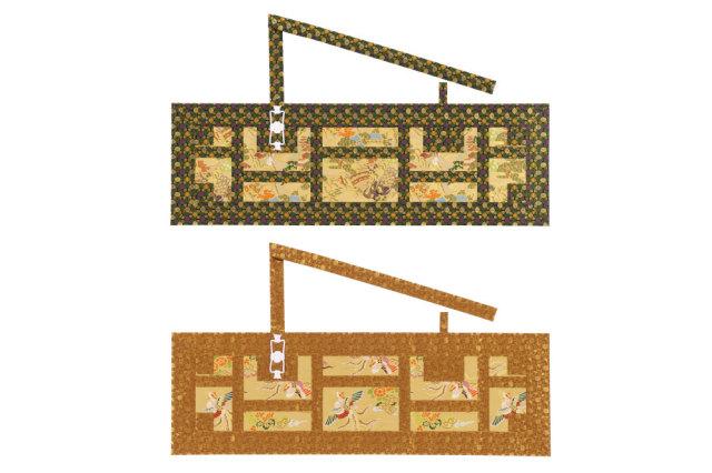 【法衣 袈裟】金襴五条 袈裟(合用) 鬱金風 風呂敷包み