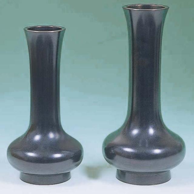 《9226》【仏具 花瓶 寺院用】花瓶貫通型 真鍮黒うるし塗