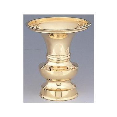 【仏具 花瓶 寺院用】花瓶中口 真鍮磨仕上
