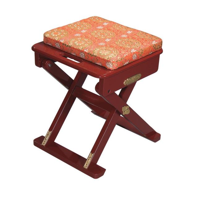【折り畳み式椅子】 おともにいーす 金襴(朱塗/黒塗)