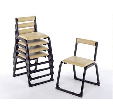 【寺院 神社 本堂用 椅子】 新本堂用椅子 背もたれ付 (座高40cm) 5脚セット